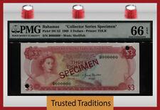 "TT PK 28CS2 1968 BAHAMAS 3 DOLLARS ""QUEEN ELIZABETH II"" PMG 66 EPQ FINEST KNOWN!"