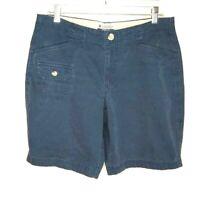 Columbia Womens Shorts Size 10 Blue 100% Cotton Waist 32 Inseam 8
