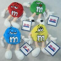 Lot of 4 M&M's World Las Vegas Red Yellow Blue Green 6 Inch Plush Beanie NEW NWT