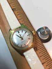 Timex Electric Ladies Silver Dial White Band Gold Tone Case Watch  NEEDS WORK