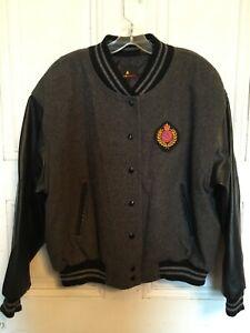 Liz Sport Grey Gray Wool Blend Black Leather Sleeve Stadium Varsity Jacket L EUC