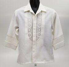 Beau Tiki Men's Hawaiian Wedding Shirt Size Small 3/4 Sleeve Lace White