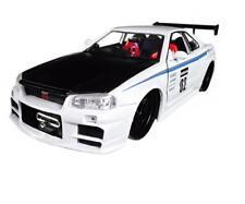 1/24 Jada 2002 Nissan Skyline GT-R R34 #02 w Black Hood JDM Tuners White 99113