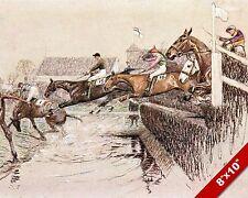 HORSES JUMPING OVER WATER HORSE JOCKEY RACE RACING ART PAINTING CANVAS PRINT