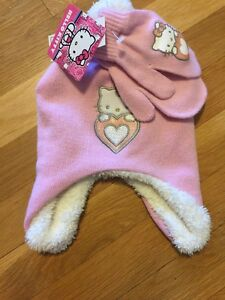 Hello kitty Winter Hat Set Nwt Osfm. Gloves Mittens Girls