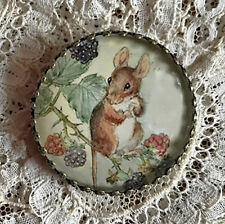 "MOUSE IN BLACKBERRY BUSH Glass Dome BUTTON 1 1/4""  Vintage Fruit Animal Art"