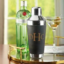 """The Gentleman's Leather Wrapped Cocktail Shaker Monogrammed  """"TJF"""""""