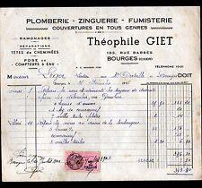 """BOURGES (18) PLOMBERIE COUVERTURE ZINGUERIE RAMONAGE """"Theophile GIET"""" en 1945"""