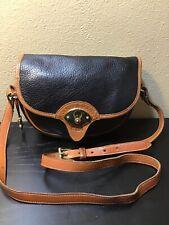 Vintage Dooney And Bourke Black Leather Brown Trim Crossbody Bag