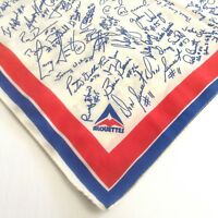 Vintage Montreal Alouettes CFL Scarf Signatures 21X21 Inches 1970s