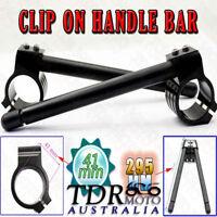 Black 41mm Clip Ons Fork Handle Bars Handlebars CNC Motorcycle Universal Honda