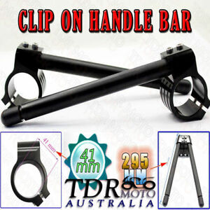 41mm Clip Ons Fork CNC Black Handle Bars Handlebar for Honda NX650 1988-1989
