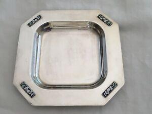Vide poche métal argenté Argit art nouveau décor émaillé muguet