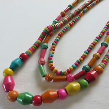 BOHEMIAN HIPPY MULTI COLOUR 3  VARIED LENGTH STRAND WOOD BEAD NECKLACE New