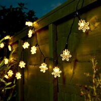 5m Battery Power LED Christmas Snowflake Outdoor Fairy Lights | Tree Garden