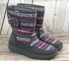Skechers Tone Ups Chalet Mid High Sweater Puff Boots Size 11 Gray Suede