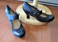 Steve Madden Women's Black Leather  Mary Jane Heels~Button Side Closure~10 M