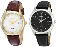 Seiko Men's Solar Powered 100m Stainless Steel/Leather Watch