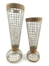 Lot of 2 Pier 1 Imports Tall Glass & Burlap Net Tea Light Candle Holders