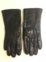 Vintage Fur Lined Leather Gloves Black Made in Italy for Winkleman's