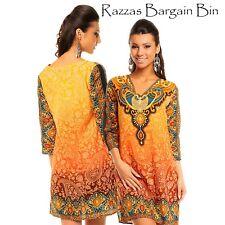 New Ladies Yellow Tribal Kaftan Top Dress Size 8AU/10UK (1109)OZ