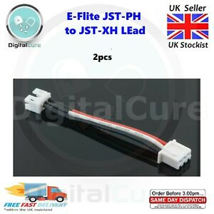 2pcs E-Flite Blade 130x UMX JST-PH to 2S JST-XH Lipo Charger Lead Adapter