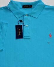New $98 Polo Ralph Lauren Blue / Sea Turquoise Cotton Mesh Polo Shirt / BIG 3X