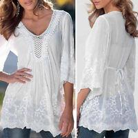 Moda Donna da Donna,in Pizzo Camicia a Manica Lunga Casual Estivo T-Shirt Maglia
