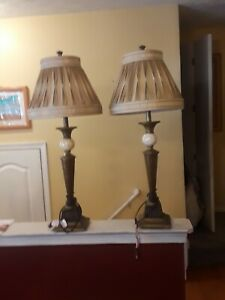 Set of Marble Table Lamps w/Cherry Wood & Metal bottom Gold/Gray Lamp Shades
