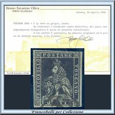 ASI 1851 Toscana 1 q. nero su grigio n. 1 Certificato Oliva Usato Antichi Stati