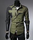 Hombre Camisa Elegante Casual Formal Camisetas Negocios AJUSTADO MANGA LARGA