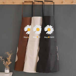 Women Oil Waterproof Pvc Daisy Happy Day Apron Kitchen Cafe Wear Dry Hand Wipe