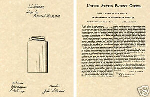 MASON JAR 1858 US Patent Art Print READY TO FRAME!!! John Bottle