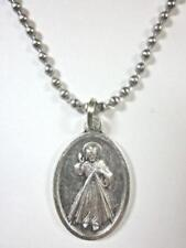 "Catholic Italian Divine Mercy Pendant Necklace 24"" Ball Chain + BONUS BOOK"