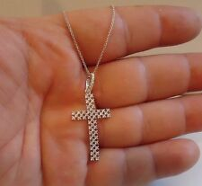 925 STERLING SILVER LADIES DESIGNER CROSS NECKLACE PENDANT W/ 1 cts DIAMONDS