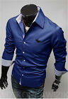 New Mens Casual Shirt Slim Fit Stylish Dress Shirts Long Sleeve Men's Tops