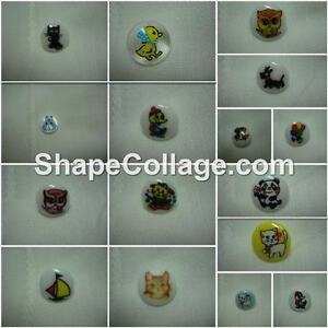 Buttons, children's printed, 6, 8 or 10