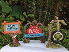 Miniature Dollhouse FAIRY GARDEN ~ Set 3 Pixie ENCHANTED FOREST Signs Tire Swing