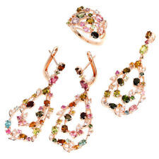 NATURAL AAA MULTI COLOR TOURMALINE & WHITE CZ STERLING 925 SILVER SET SIZE 7