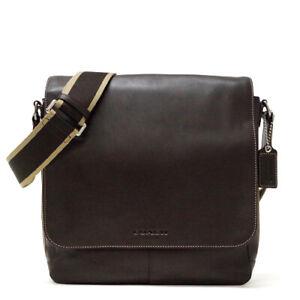 NWT COACH Men's Bag Heritage Web leather bag SV/BR Brown F70555
