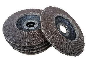 5 x Rostio Fächerscheiben 125 mm Korn 40, 60, 80, 120 Winkelschleifer Flex braun