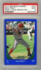 MIKE TROUT 2011 Bowman Chrome Draft BLUE Refractor Rookie Card RC /199 PSA 9