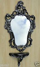 Consola de pared con Espejo Negro Plata 50x76 colgar en la Barroco baño