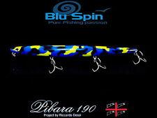 NEW PIBARA 190 LONG SLIM WTD TOP WATER 190mm 30,5gr COL: MIMETIC BLUE YELLOW