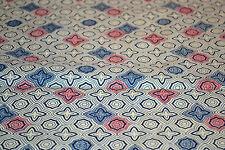 Japanese Wool/Silk Kasuri Style Fabric Cream base Pink Yellow Blue Stars 805