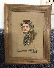 """Emmett Kelly Jr Counted Cross Stitch """"A Portrait"""" Judith Lynn Framed"""