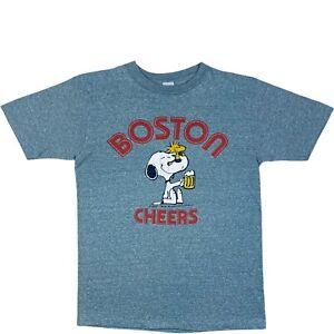 Vintage 1965 Snoopy Boston Cheers Single Stitch T Shirt Made In USA Grey Medium