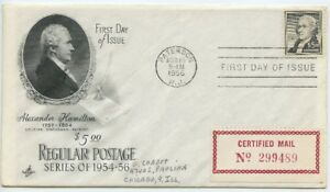 1956 FDC, $5.00 HAMILTON ,CERTIFIED MAIL COVER