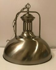 Stainless Steel Silver Metal Dome Pendant Ceiling Light Industrial Barn Kitchen