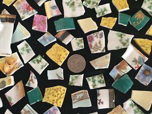 Broken China Mosaic Tiles English Fine Bone China 80+ and a Cup Handle
